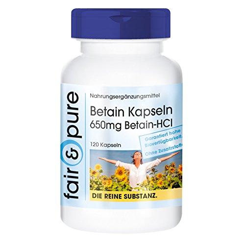 Betaína HCl 650 mg - Clorhidrato de Betaína - Vegana - Alta pureza - 120 Cápsulas