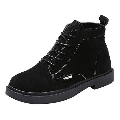 S&H-NEEDRA Frauen Platz Ferse Schuhe Martain Boot Wildleder Lace-Up Solid Color Runde Zehe Schuhe