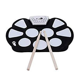 Top-Longer Portable Electronic Drum Pad Kit with Drum Sticks and Sustain Pedal for Children & Beginners - Electronic Drums Pad Set Kids Gift for Christmas Day - USB 9 Pads Flexiable Silicon Roll Up Drum Kit Set with Record Function