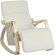SoBuy® sillón de relada, Silla de relada, mecedora , beige, FST16-W,ES