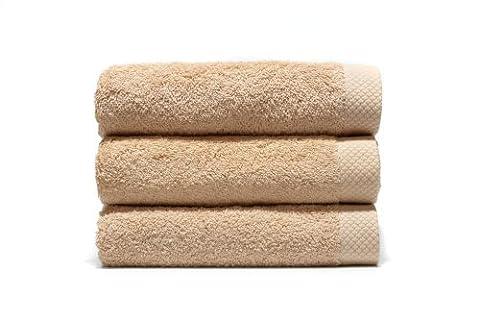 Home Basic - Lot de 3 serviettes eponge, 33x50 cm serviette invité, 50x100 cm, drap de bain 70x140 cm, couleur beige