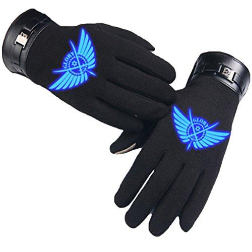 Bromeo Daomu Anime Hiver Chaud Lumineux Écran Tactile Gants Gloves Mittens Noir 5