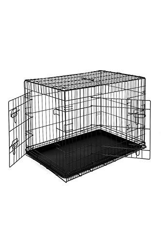 dibea DC00493, Transportkäfig für Hunde und Kleintiere, stabile Box aus kräftigem Draht, faltbar / klappbar, 2 Türen, mit Bodenschale, Größe XL -