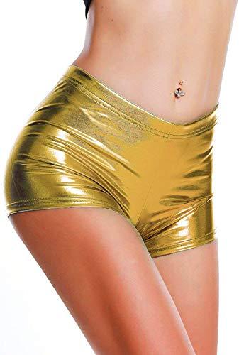 DODOING Damen Metallic Rave Booty Tanz Shorts Frauen Shiny Kurze Hosen Sommer Wetlook Hot Pants -