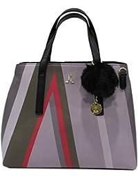Lancetti Borsa donna similpelle modello shopping a mano con pon pon 7509  nero 6dce9a7ea4b
