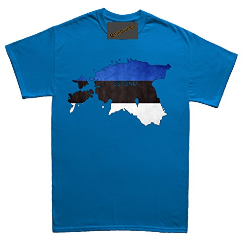 Renowned Estonia Flag Map Grunge Unisex - Kinder T Shirt Blau