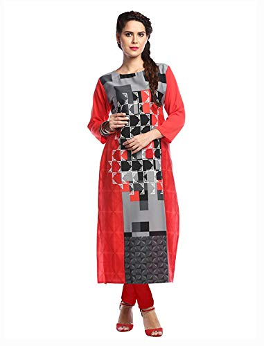 1 Stop Fashion Women's Red Crep Knee Long Straight Kurti