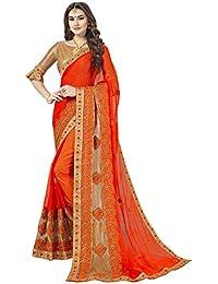 Glory Sarees Women's Chiffon Saree(aanand101_orange)
