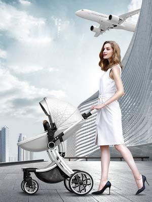 Strolex Sommer-Kinderwagen kann sitzen und Falten, leicht und hoch, 2-Wege-Neugeborenen-Schock, 4-Räder, 1-4 Jahre alt (schwarz-Gold)
