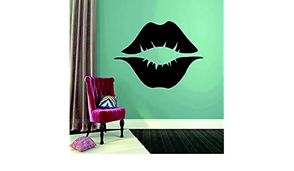 12 x 18 Black Design with Vinyl RAD 1007 1 Lips Kiss Design Wall Decal