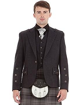 Kilt Society Herren Schottische graue Araca Tweed Kilt Jacke und Weste