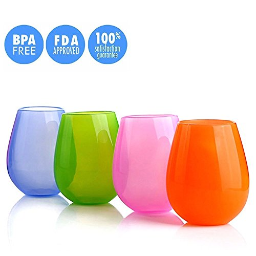 Kuke Set von 4 verschiedenen leuchtenden Farben Silikon-Weingläser Stemless 9/12 Unze (L) - Multi Weingläser Farbige