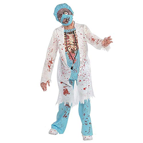 Yw-Cosplay Zombie Schuljungen Kostüm für Kinder von M.D. Surgeon Medical Doctor Scrubs Maske Halloween Gory Blood Splattered Kostüm, - Evil Jester Kostüm Kinder