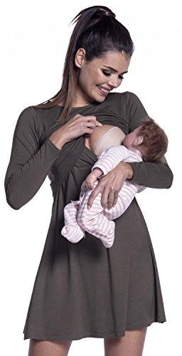 Zeta ville - vestito a strati allattamento prémaman manica lunga - donna - 128c (cachi, it 42/44, m)