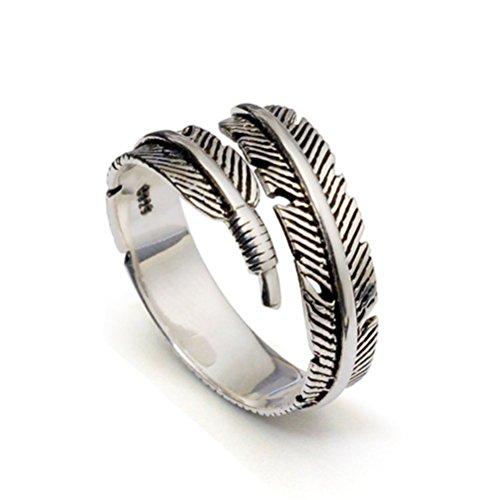 Emorias Feather 1Form Mode Frauen-Ring mit offener Ring Ring-Schmuck, verstellbar, mit Geschenk