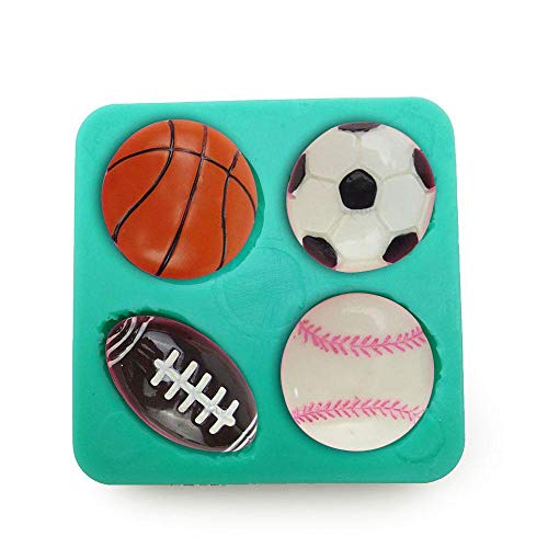 DACCU Fußball Basketball Rugby Baseball Tennis Silikon Fondant Kuchen Formen Schokoladenform Kuchen Werkzeug Formen für Zucker Bonbons F0629BQ35