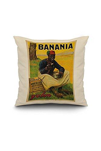 France - Banania - (artist: de Andreis c. 1915) - Vintage Advertisement (18x18 Spun Polyester Pillow Case, White Border)