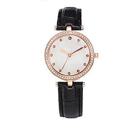 Bracelet En Cuir Diamant De Surface Mince Coquille Montre Les étudiantes Regardent,Black-OneSize