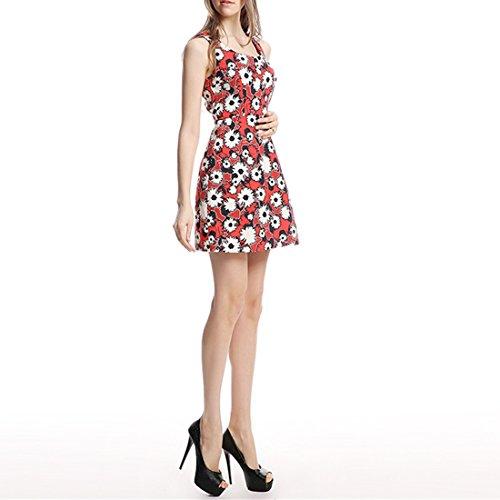 QIYUN.Z Sans Manches Rouge Floraux Femmes Ol Imprimes Mode Slim A-Ligne Tunique Mini-Robe D'ete Rouge