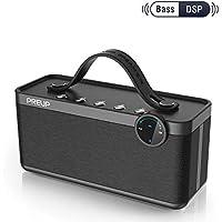 Altavoz portatiles Bluetooth, Altavoz de MP3 al Aire Libre,3 Altavoz con Trinity 2.1 súper Sonido y DSP Sonido, excelente Sonido de Baja, 4.2 Bluetooth/Aux/ 5200mAh batería/ 25W de PREUP-Color Negro