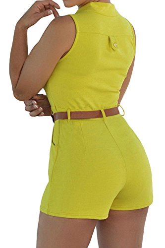 Minetom Femme Col V Sans Manches Combinaison Jumpsuit Wrap Boucle De Court Pantalon Sans Manches Jumpsuit Romper Avec Ceinture Jaune
