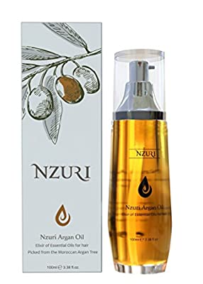 Moroccan Argan Oil Treatment Renewing Penetrating Essential Product For All Hair Types 3.38 fl. oz. (100 ml) by Nzuri