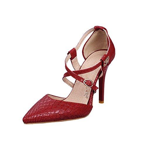 UH Escarpins Femmes Bout Pointu Sexy à Talon Moyen Aiguille Mary Jane avec Boucle Metal en Couleur Pure Rouge
