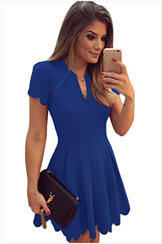 meinice Blu Sweet Scallop plissettato Skater Dress Blue Large