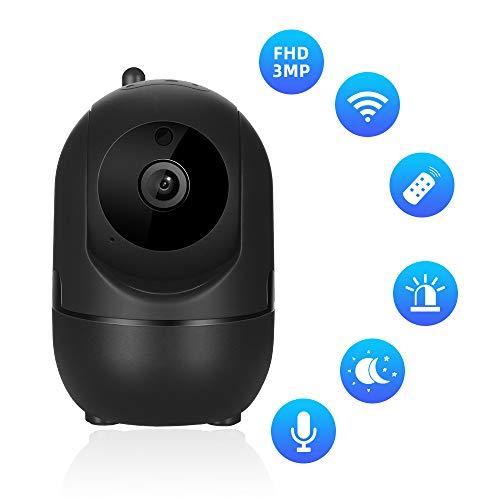 Dericam Überwachungskamera WiFi 3MP Videoüberwachung Monitor mit Bewegungserkennung WLAN IP Kamera HD Mobile APP Kontrolle Zwei-Wege Audio,Schwarz