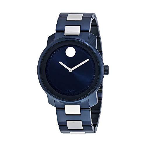 Movado uomo blu IP Steel Bracelet & case Swiss Quartz Analog Watch 3600422