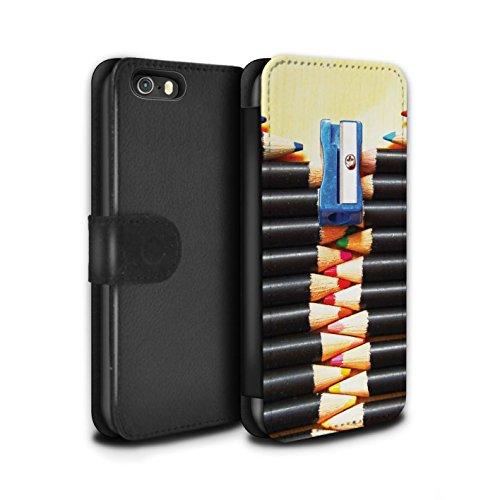 Stuff4 Coque/Etui/Housse Cuir PU Case/Cover pour Apple iPhone SE / Pack 5pcs Design / Art Abstrait Collection Crayons/Zip