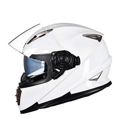 OLEEKA Casco moto Winter Face Double White Full Face, Casco moto da uomo con lente incorporata può essere nascosto