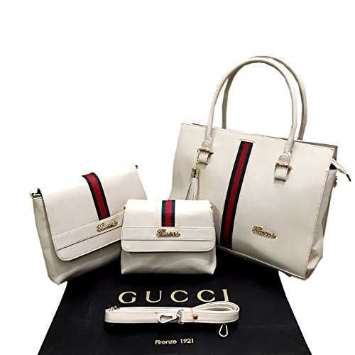 Gucci 3 Pieces Lady Womens PU Leather Shoulder Bags Top Handle Cross Sling Clutch Handbag Combo Set (3)