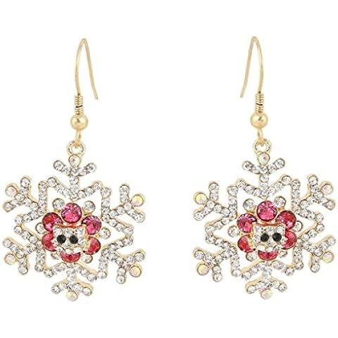 Ever Faith Austriaco bello di cristallo del fiocco di neve ciondola Anelli dell'orecchio Gold-Tone rosa N04483-3 - Rosa Anelli Dell'orecchio