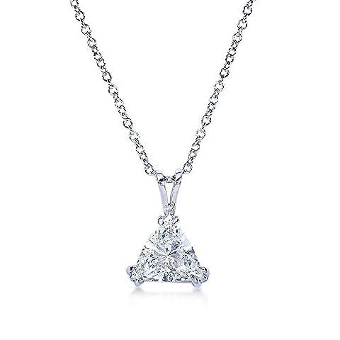 Trillion Cut Triangle Diamond Solitaire Necklace 2 1/6 Carat (ctw)