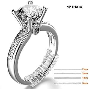(12 Stück) Ringgrößenmesser ,Set von 4 Größen,Schmuckwerkzeuge Ringeinlagen,Ring Größe Adjuster mit Silberputztuch (3.5mm/5mm) MIMINUO