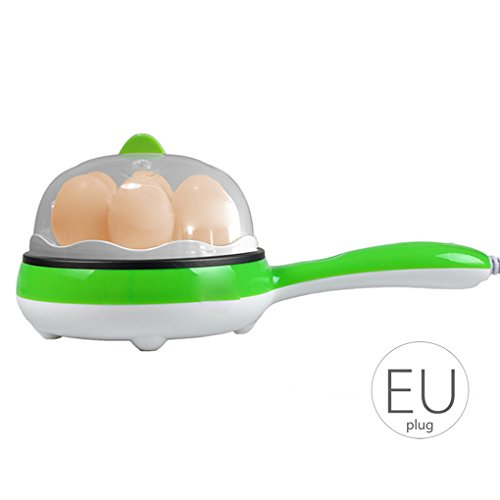 Babysbreath17 350W elektrische Ei-Kocher-Dampfkessel-Ei-Maschine Dampfer und Wilderer Pan Große Kapazität mit Griff EU-Steckern Grün