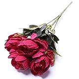 Cikuso 1 Ramo Bonita Boda Europea Mini Ramo de Flores de Seda Artificial peonia Flores de Novia Decoracion de casa Flores Falsas Rojo