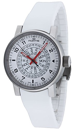 Fortis Spacematic White-Red Automatic Day/Date Steel Mens Strap Watch 623.10.52 SI.02