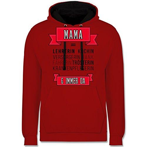 Muttertag - Mama ist.... - Kontrast Hoodie Rot/Schwarz