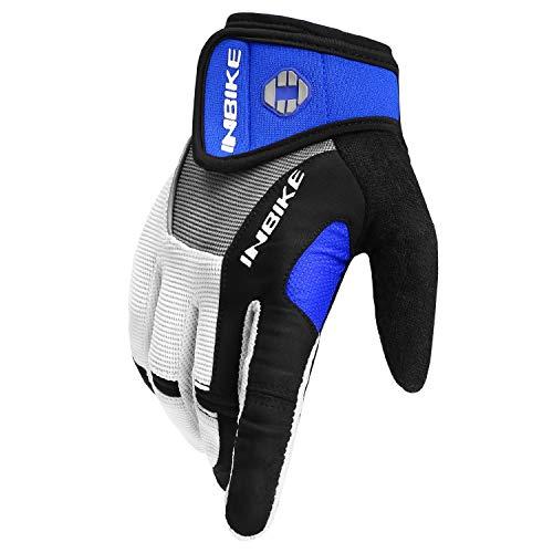 Inbike Herren Fahrradhandschuhe Mit Gel vollfinger MTB Handschuhe für das Radfahren(Blau-Lang,L) - 3