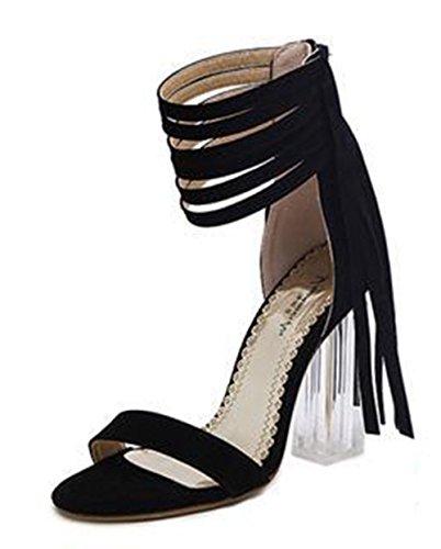 Aisun Damen Fashionable Troddel Offene Zehen Sandalen Mit Reißverschluss Schwarz