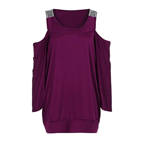 Chemisiers T-Shirts Tops Sweats Blouses,Femme 3/4 Sleeve Solide Plus Loose Off-Épaule Bling T-Shirt Tops Chemisier purple