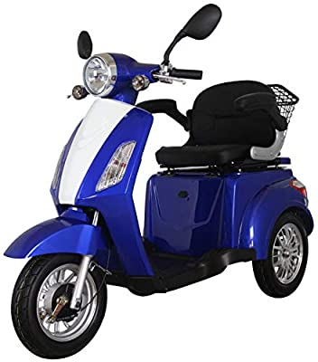 Blue ZT500 Electric Mobility Scooter 3 Wheeled with Extra Accessories Package: Mobility Scooter Waterproof Cover, Phone Holder, Bottle Holder by Green Power