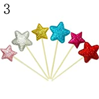 uhoMEy 6pcs Happy Birthday Cake Bunting Banner Flag Food Topper Shower Party Decors