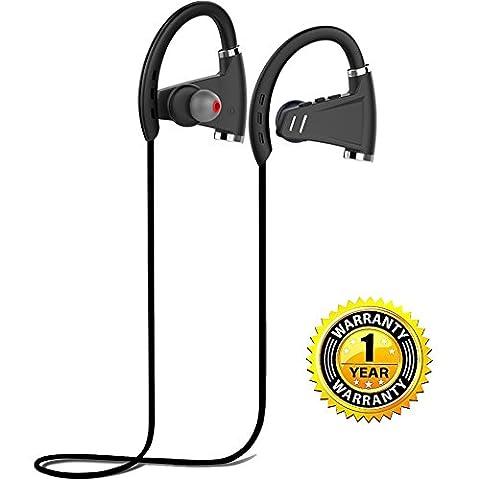 Bluetooth 4.1 Sport Kopfhörer In-Ear Ohrhörer mit Mikrofon, Nackenband, Rauschunterdrückung, 12h-Spielzeit, leicht & bequem, IPX7 wasserdicht für Outdoor Sport für iPhone, Android & Weitere (Schwarz)