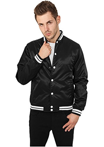 Urban Classics Mens Shiny College Jacket, Felpa Uomo Nero