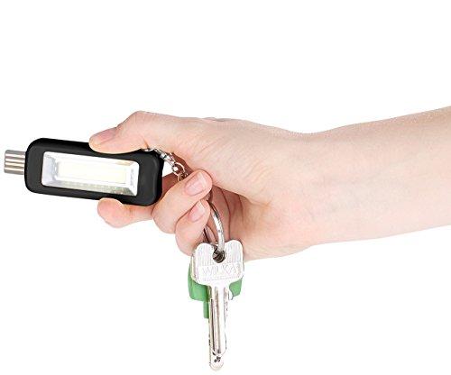Usb-netzteil-taschenlampe (PEARL Schlüsselanhänger Lampe: Mini-Akku-Taschenlampe mit COB-LED und USB-Ladeanschluss, 50 lm, 1 W (Schlüsselanhänger Taschenlampe))