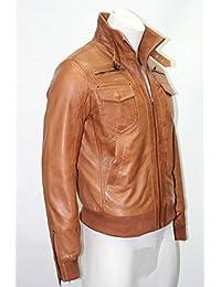 Bomber Harrington Mens Gents urbain peau d'agneau doux bronzage REAL Vestes en cuir