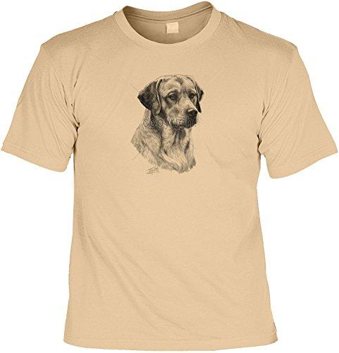 Hunde Shirt/ T-Shirt mit Dog Aufdruck: Gelber Labrador - tolles Tier-Motiv für Hundefreunde Sand